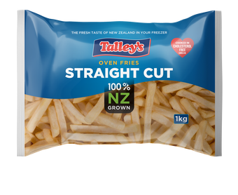 Talleys Straight Cut Fries 1Kg Mockup Bag
