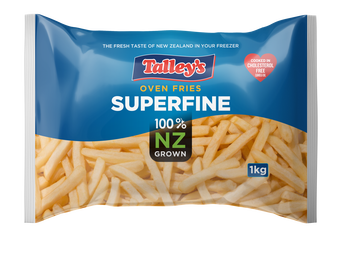 Talleys Superfine Fries 1Kg Mockup Bag