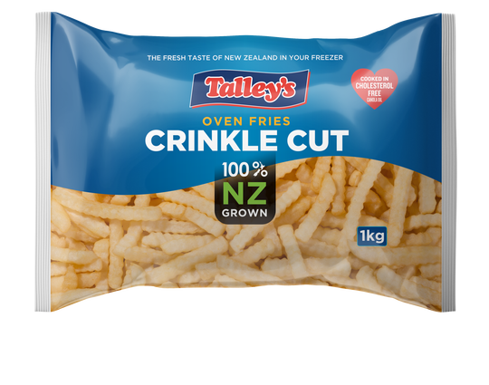 Talleys Crinkle Cut Fries 1Kg Mockup Bag